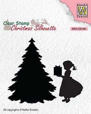 Nellies Choice Christmas Silhouette Clearstamp - Dankje Kerstman CSIL013 66x58mm (07-20)