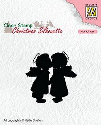 Nellies Choice Christmas Silhouette Clearstamp - Twee engelen CSIL012 40x41mm (07-20)