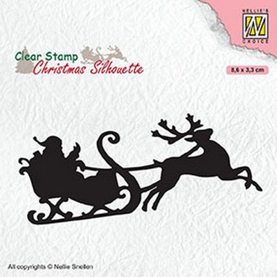 Nellies Choice Christmas Silhouette Clearstamp - Kerstman CSIL011 86x33mm (07-20)