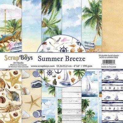 ScrapBoys Summer Breeze paperpad 24 vl+cut out elements-DZ SUBR-09 190gr 15,2 x 15,2cm (07-20)