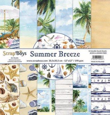 ScrapBoys Summer Breeze paperset 12 vl+cut out elements-DZ SUBR-08 190gr 30,5 x 30,5cm (07-20)