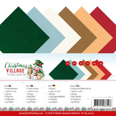 YC-A5-10020 Linen Cardstock Pack A5 Yvonne Creations Christmas Village
