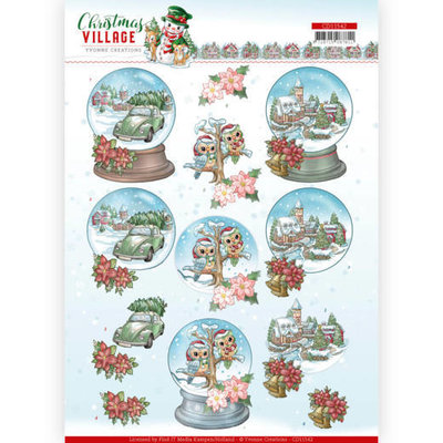 CD11542 HJ18501 3D cutting sheet Yvonne Creations Christmas Village Christmas Globes