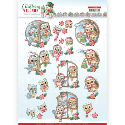 CD11541 3D cutting sheet Yvonne Creations Christmas Village Christmas Owls