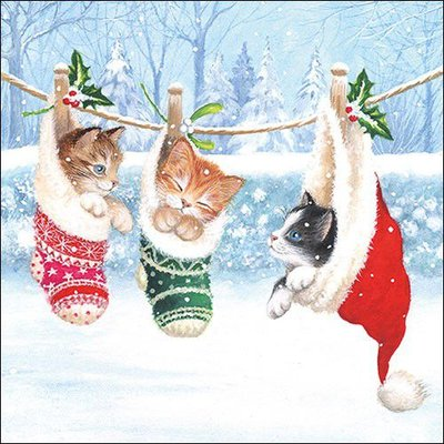 CraftEmotions servetten 5st - Kittens in winterland 33x33cm Ambiente 33314800 (08-20)