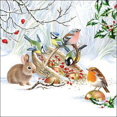 CraftEmotions servetten 5st - Winter Traktatie 33x33cm Ambiente 33314660 (08-20)
