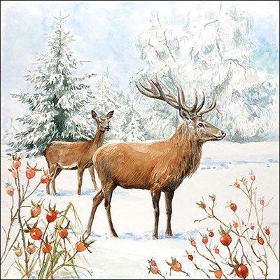 CraftEmotions servetten 5st - Herten in de sneeuw 33x33cm Ambiente 33314655 (08-20)