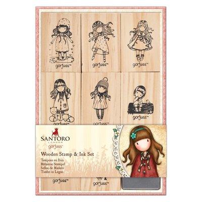 GOR 907422 Wooden Stamp and Ink Set (9pcs) - Santoro