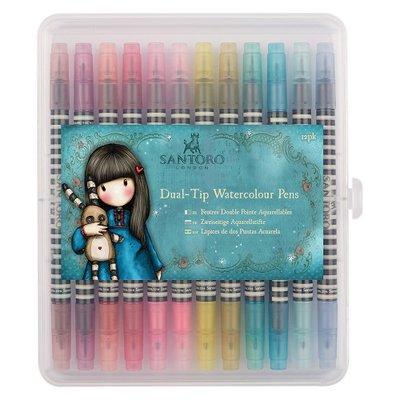 GOR 851101 Watercolour Dual-tip Pens (12pk) - Santoro - Brights