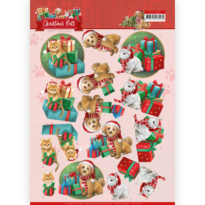 CD11526 3D Cutting Sheet - Amy Design - Christmas Pets - Presents