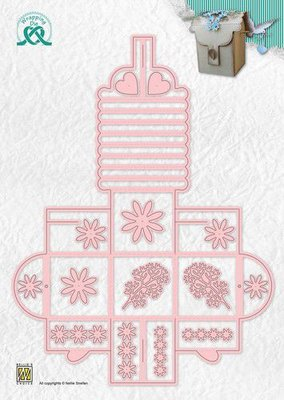 Nellies Choice Wrapping Die gift-box - 13 bloemendoosje WPD013 50x50x95mm (08-20)