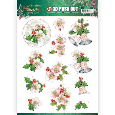 SB10481 3D Push Out Jeanines Art  Christmas Flowers Pink Christmas Flowers