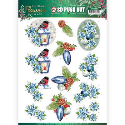 SB10480 3D Push Out Jeanines Art  Christmas Flowers Christmas Lantern