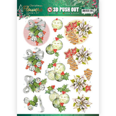 SB10479 HJ18601 3D Push Out Jeanines Art  Christmas Flowers Christmas Bells