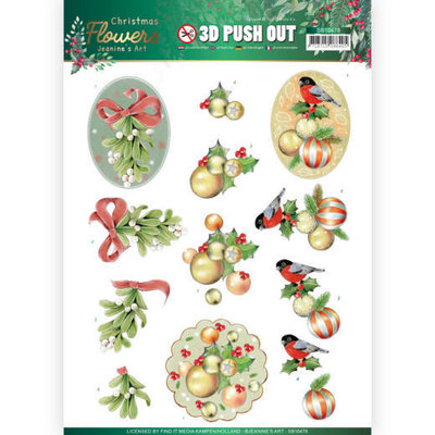 SB10478 3D Push Out Jeanines Art  Christmas Flowers Mistle Toe