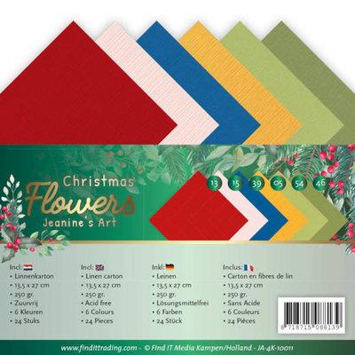 JA-4K-10011 Linen Cardstock Pack 4K Jeanines Art  Christmas Flowers