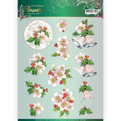 CD11558 3D knipvel Jeanines Art  Christmas Flowers Pink Christmas Flowers