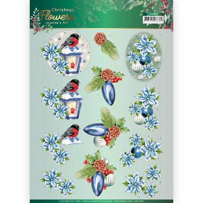 CD11557 3D knipvel Jeanines Art  Christmas Flowers Christmas Lantern