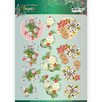 CD11556 3D knipvel Jeanines Art  Christmas Flowers Christmas Bells