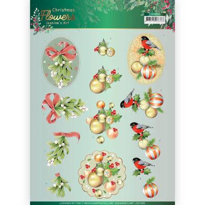 CD11555 3D knipvel Jeanines Art  Christmas Flowers Mistle Toe