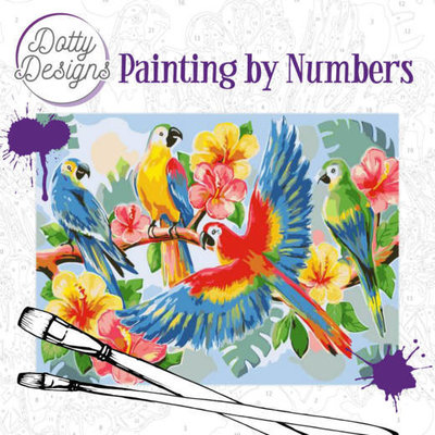 DDP1003 Dotty Design Painting by Numbers - Parrots