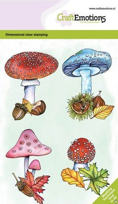 CraftEmotions clearstamps A6 - Paddenstoelen GB Dimensional stamp (09-20)