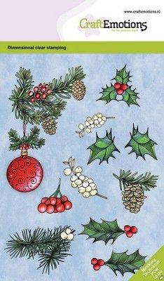 CraftEmotions clearstamps A6 - Kerstbal met takjes en besjes GB Dimensional stamp (09-20)