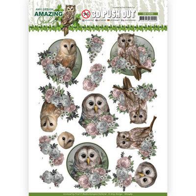 SB10489 3D Push Out - Amy Design - Amazing Owls - Romantic Owls