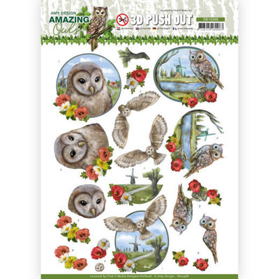 SB10488 3D Push Out - Amy Design - Amazing Owls - Meadow Ols