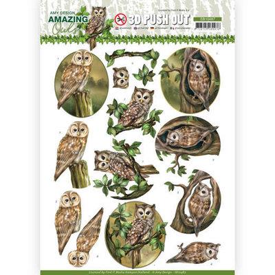 SB10487 3D Push Out - Amy Design - Amazing Owls - Forest Owls