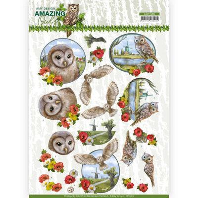 CD11565 3D Cutting Sheet - Amy Design - Amazing Owls - Meadow Owls