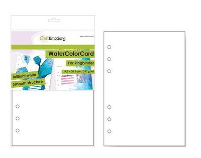 CraftEmotions WaterColorCard - bril. Ringband wit 10 vl 14,5x20,5cm - 350 gr - 6 Ring A5 (10-20)