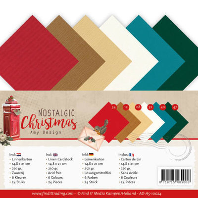 AD-A5-10024 Linen Cardstock Pack - A5 - Amy Design - Nostalgic Christmas