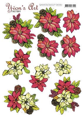 CD11551 3D Cutting Sheet - Yvon's Art - Poinsettia