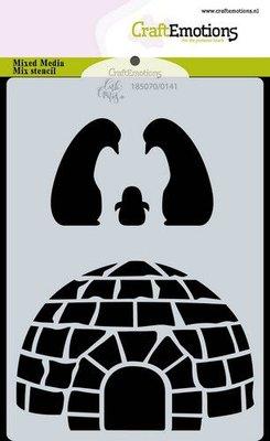 CraftEmotions Mask stencil Iglo en penguins A6 Carla Creaties (10-20)