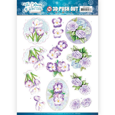 SB10493 3D Push Out - Jeanine's Art - The colours of winter - Purple winter flowers