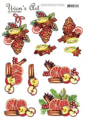 CD11554 3D Cutting Sheet - Yvon's Art - Christmas Fruit