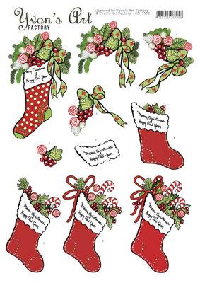 CD11552 3D Cutting Sheet - Yvon's Art - Christmas stocking