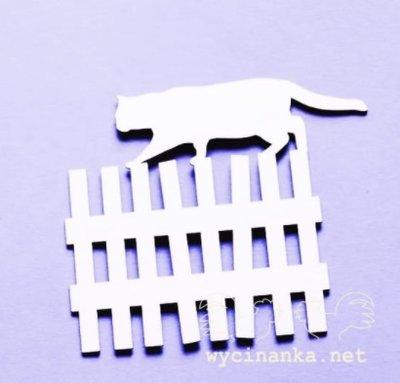 C078 Chipboard - Wycinanka - Hek met kat 8x9cm - 1 stuk