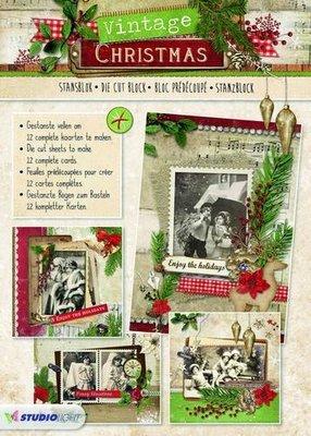 Studio Light Die cut blocs A4 12 vel Vintage Christmas nr 56 STANSBLOKSL56