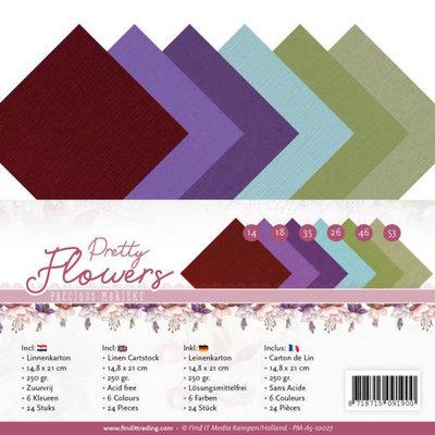 PM-A5-10027 Dit A5 linnenpakket bevat 24 vellen in zes verschillende kleuren. Linnenkarton zorgt dankzij de structuur voor extra detail op je project. De kleuren sluiten prachtig aan bij de rest van d