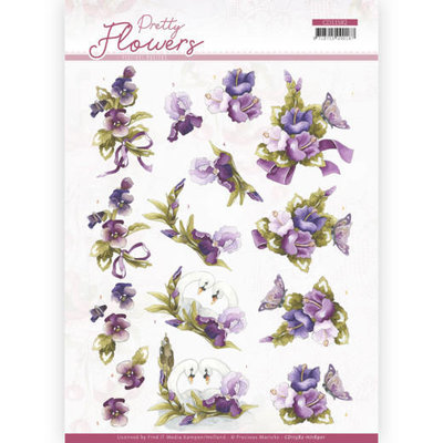 CD11582 - HJ18901 3D cutting sheet - Precious Marieke - Pretty Flowers - Flowers and Swan