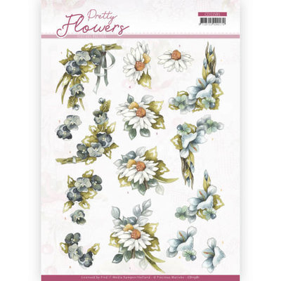 CD11581 3D cutting sheet - Precious Marieke - Pretty Flowers - Blue Flowers
