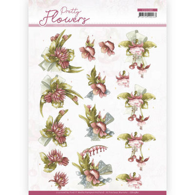 CD11580 3D cutting sheet - Precious Marieke - Pretty Flowers - Red Flowers