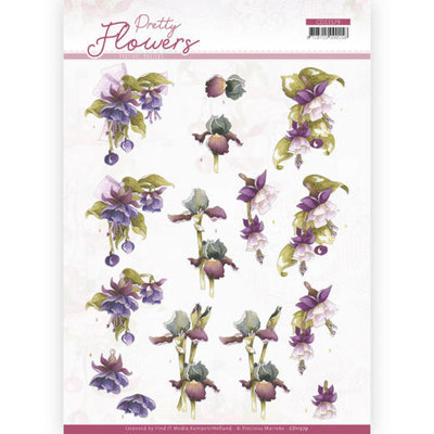 CD11579 3D cutting sheet - Precious Marieke - Pretty Flowers - Purple Flowers