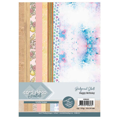 CDEBG002 Card Deco Essentials Back Ground Sheets - Happy Birthday