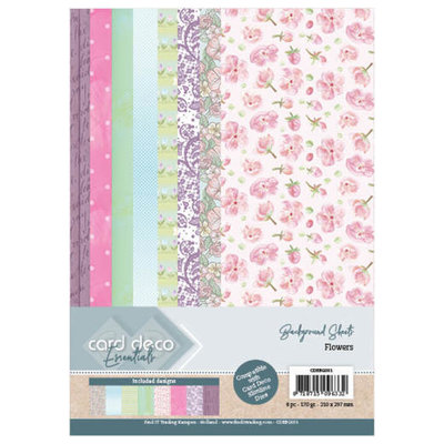 CDEBG001 Card Deco Essentials Back Ground Sheets - Flowers