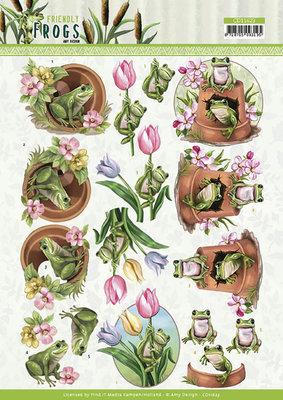 CD11623 3D cutting sheet - Amy Design - Friendly Frogs - Flower Frogs