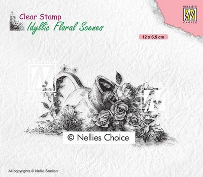 Nellies Choice clearstamp - Idyllic Floral - Vaas met roos IFS034 120x65mm (01-21)