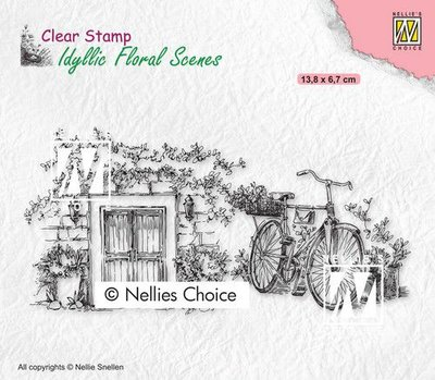 Nellies Choice clearstamp - Idyllic Floral - Fiets IFS033 138x67mm (01-21)
